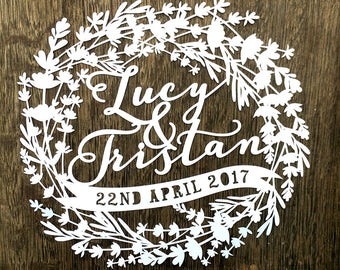 Personalised PDF SVG JPEG Papercut Template for Wedding Day / First Wedding Anniversary Paper Gift by Samantha's Papercuts