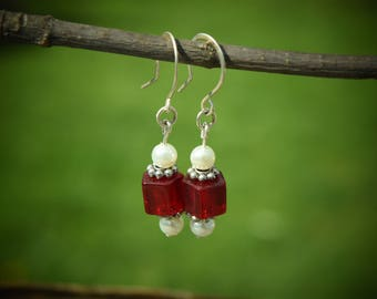 Dangle Earrings, Sterling Silver, White Freshwater Pearls and Red Glass Beads, Simple, Great Gift