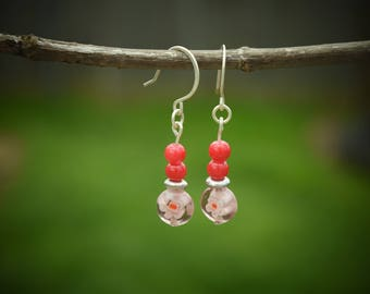 Sterling Silver Dangle Earrings, Purple with Flower and Red Glass Beads, Simple, Cute, Great Gift