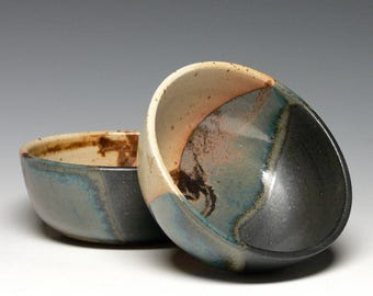 Set of 2 Pottery Soup Bowls, Stoneware Cereal Bowls, Hand Thrown Soup Bowls, Classic Rice Bowls