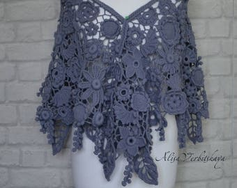 Gift for women Irish crochet Shawl Women's Chic Floral fashion Stoles Scarf Shawl Flowers Boho Cashmere  Gift for her Warm scarf Thick yarn