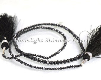 95% SUPER Sale on ONE Black Diamond Beads Strand, AAA Quality Black Diamond Faceted Beads Strand, Faceted Rondelles beads with Free Shipping