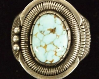 Native American Navajo Sterling Silver Turquoise Ring Size 12.25 Wilbert Vandever