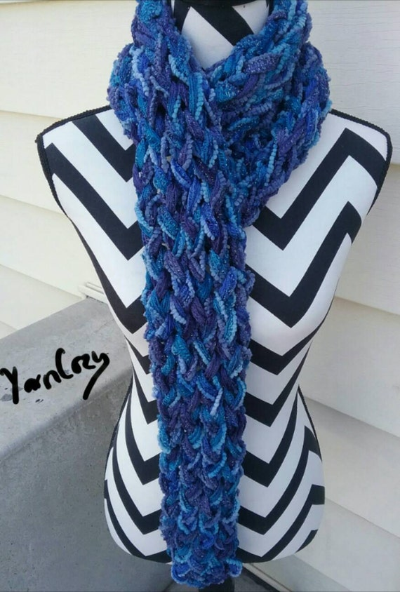 blue and purple knit scarf gift for boho fashion
