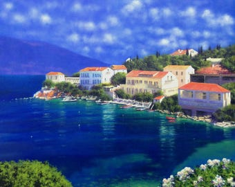 Big painting Greek coast seascape Greece Mediterranean Sea original oil 100x100 cm Massimiliano Nocchi Italy