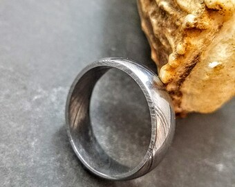 Damascus Ring : Forged & Hand Crafted  - Rounded Center