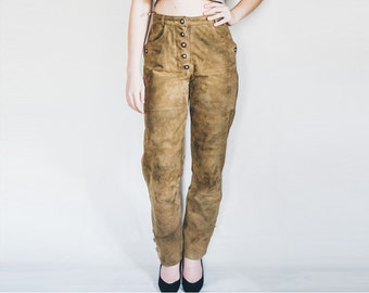 Brown Suede Pants, Leather Pants, Suede Trousers, Leather Trousers, Suede Vintage Pants, Size 8, Size 38 Pants, High Waist Pants, Button Up