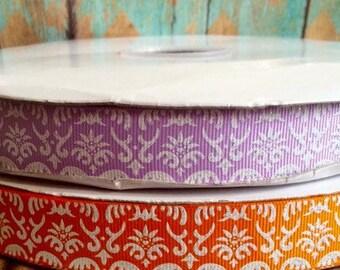 """7/8"""" USDR white glitter damask on lavender or orange grosgrain ribbon"""
