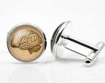 Cufflinks Steampunk brain cufflink Anatomic brain Cufflinks men accessories cuff links