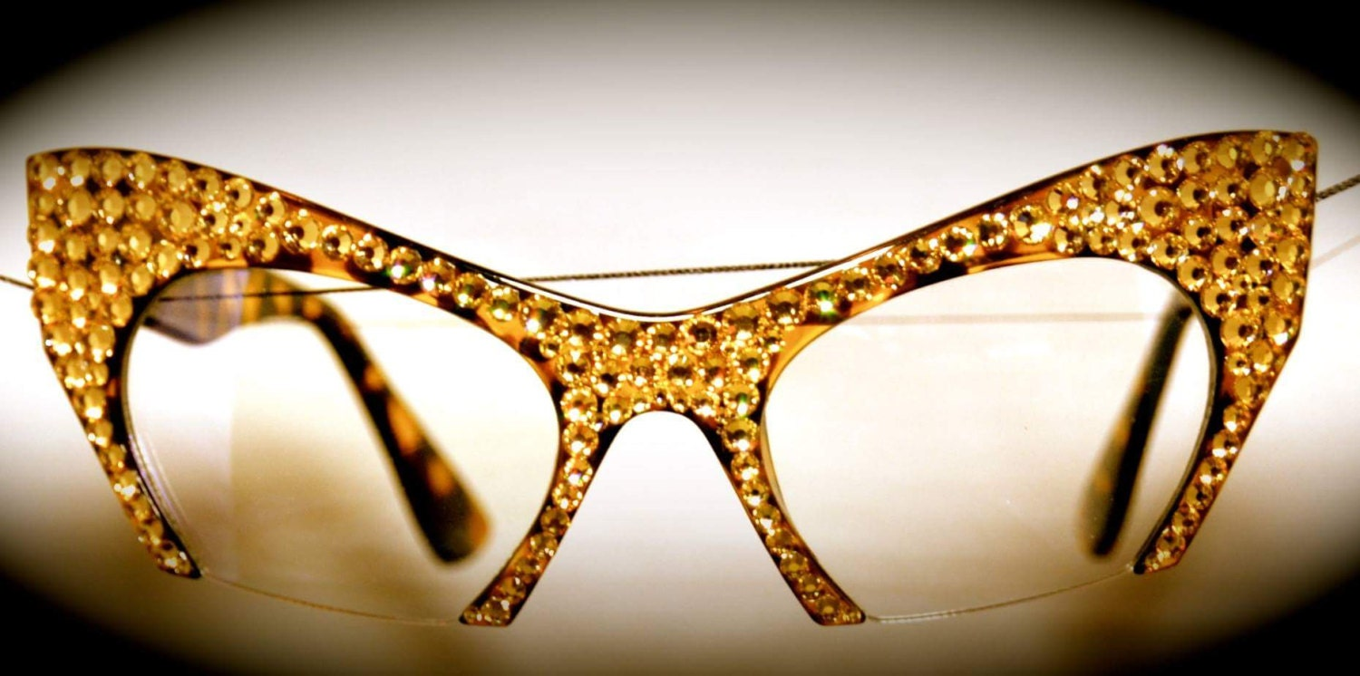 Bling Cat Eye Cut Off Glasses By Wmeaccessories On Etsy