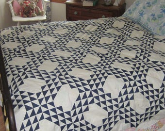 Outstanding Antique Indigo and White Ocean Waves Quilt TOP 63 X 75""