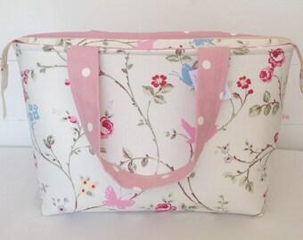 Bird Trail Zippered Tote Bag, Medium Tote Bag, Pink Tote Bag