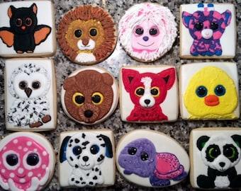 Beanie Boo Custom Decorated Sugar Cookie Set- Beanie Boo Cookies- Stuffed Animal Cookie Set