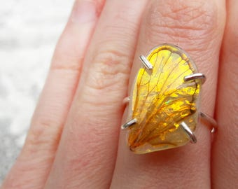 Fairy Wing Ring - Wing Jewelry - Iridescent Wings - Sterling Silver Ring - Adjustable Ring - Nature Ring - Dandelion Dream