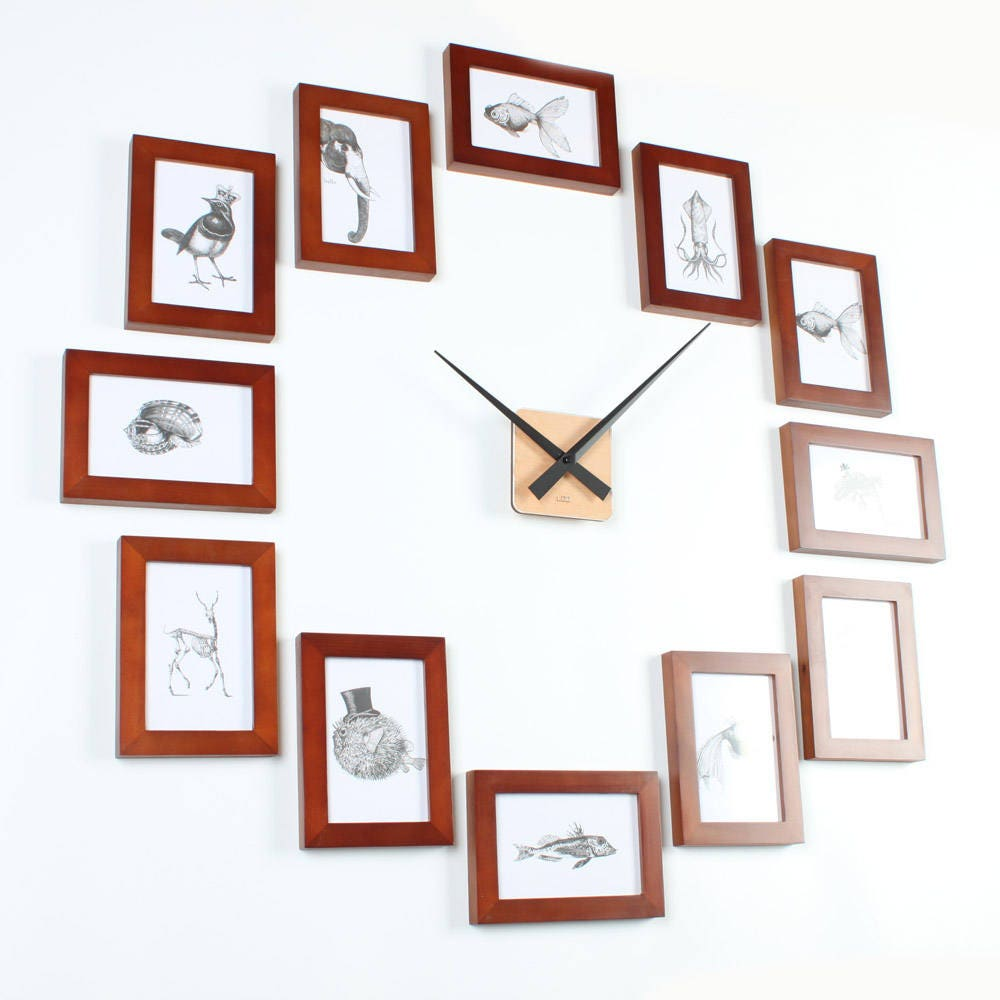Photo picture frame wall clock modern 12r brown details create the perfect picture wall clock amipublicfo Gallery