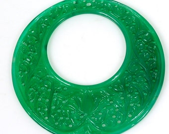 48.75cts Green Onyx Gemstone Round Hand Carved Slice 60mm For Jewelry