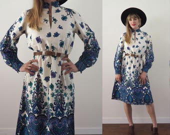 vintage 60's psychedelic paisley floral dress // boho hippie glam festival // Megan Draper // summer of '67 Acid rock