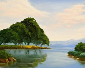 20x16 Oil Painting titled: Tranquil Stream