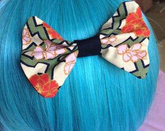 Hand Asain Flower Cheveron Hair Bow Accessory