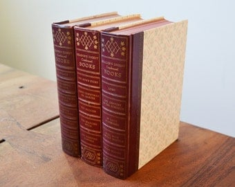 Reader's Digest Condensed Books, Set of 3, Dark Red circa 1970s - leather covers and gold lettering