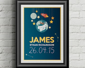 Space themed Personalised Baby's Birth Announcement Poster (Digital File)