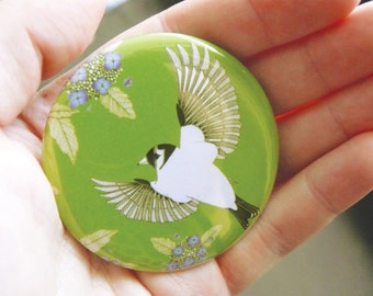 Hydrangea & goldfinch pocket mirror