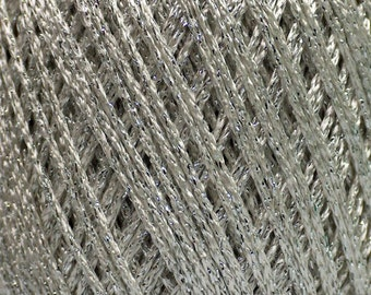 SALE 300 gr Metallic Yarn, Knitting Yarn, Viscose Yarn, Crochet Yarn, Glitter Yarn, Summer Knitting Yarn, White Silver Sport Weight