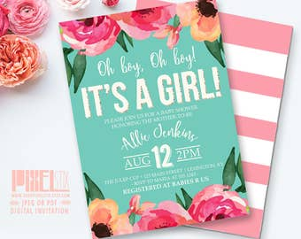 Watercolor Flower Baby Shower Invitation, Floral Baby Shower, Girl Baby Shower, Striped Baby Shower, Gold Glitter, Teal Pink Blush Peach