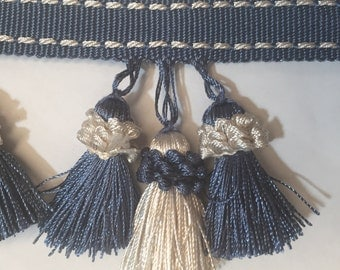 Blue and White Triple Tassel Fringe - Trim By The Yard