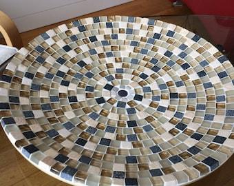 unique, mosaic design bowl,handcrafted mosaic bowl, mosaic art home decoration, glass mosaics bowl creme glass mosaic