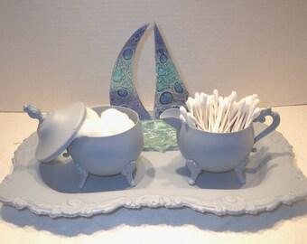 Upcycled Silver Plated Tray, Sugar and Creamer Set ~ Bathroom Organizer ~Chic Organizer ~ Desk Organizer