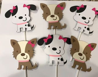 12 Girl Puppy Cupcake Toppers