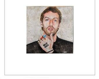 Digital print portrait Chris Martin (COLDPLAY) Impresión digital de Chris Martin