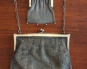 Art Nouveau Vintage Silver Evening Small Clutch Purse Bag and Coin Purse