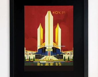 """LARGE 20""""x16"""" FRAMED Advertising Print, Black or White Frame/Mount, Art Deco"""