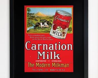 """LARGE 20""""x16"""" FRAMED Advertising Print, Black or White Frame/Mount, Carnation Milk"""