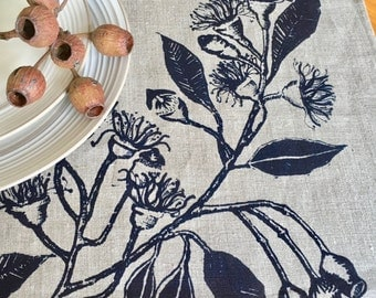 linen placemats screen printed linen placemats  eucalypt print linen placemats, hand printed, Navy and natural linen, set of 4