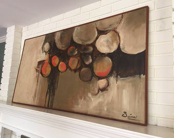 Large Mid Century Abstract Biomorphic Painting