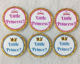 Set of 50/100/150/200 Gender Reveal Little Prince  or Little Princess Baby Shower  1 Inch Confetti Circles