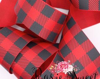 "1.5"" Red/Black Plaid Grosgrain Ribbon"