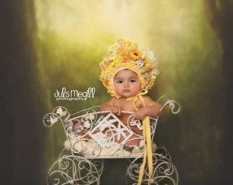 BOLD Flower bonnet,over the top,sitter,toddler,elaborate,photography prop,special occasion