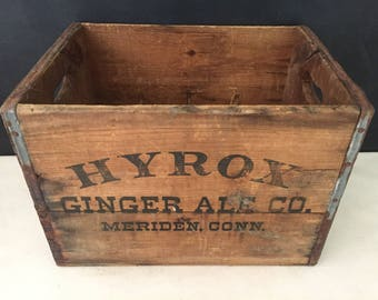 Hyrox Ginger Ale Wood Crate - Vintage Soda Crate - Meriden Conn - Pop Crate - Wooden Crate - Yellow Crate - Advertising - Soft Drink Crate