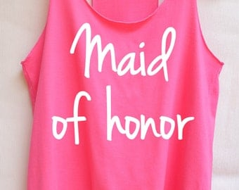 Flock Maid of honor - Racer back,Maid of honor shirt,Maid of honor tank top,bridesmaid shirt,Team bride tank top,Bachelorette Party Tank Top