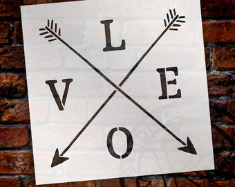 Love - Rustic Crossed Arrows - Word Art Stencil - Select Size - STCL1754 - by StudioR12