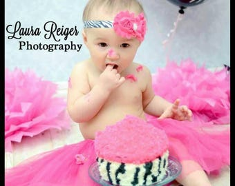 Hot Pink and Black Zebra Print Headband - Hot Pink Cake Smash - Pink Headbands- Newborn Headbands - Hot Pink Tutu - Baby Girl Headbands