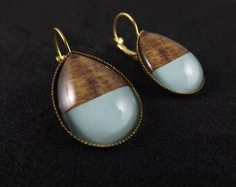 Wood Earrings, wooden earrings,  Teardrop Glass Cabochon Lever Back Earrings, Print earrings
