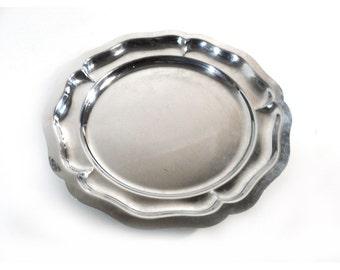 French Stainless Steel Serving Plate, Round Dessert Appetizer Platter, Inox 18% Centerpiece
