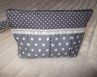 Cosmetic makeup bag with pleats, grey