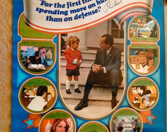 1972 Young Voters for President Nixon Poster & Postcard of Nixon Family