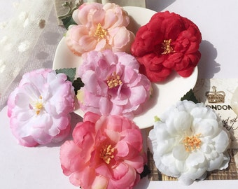 2PCS Woodland Women Girls Camellia Flower Hair Clips Pick Color